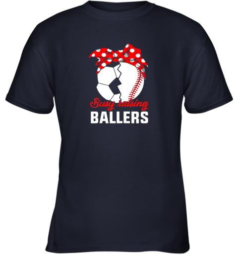 n3on busy raising a ballerfunny baseball soccer mom youth t shirt 26 front navy