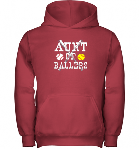 yyra vintage aunt of ballers shirt funny baseball softball love youth hoodie 43 front red