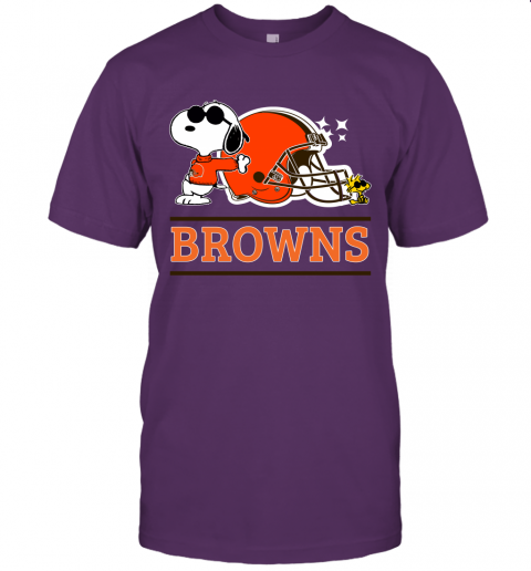 ybx7 the ceveland browns joe cool and woodstock snoopy mashup jersey t shirt 60 front team purple