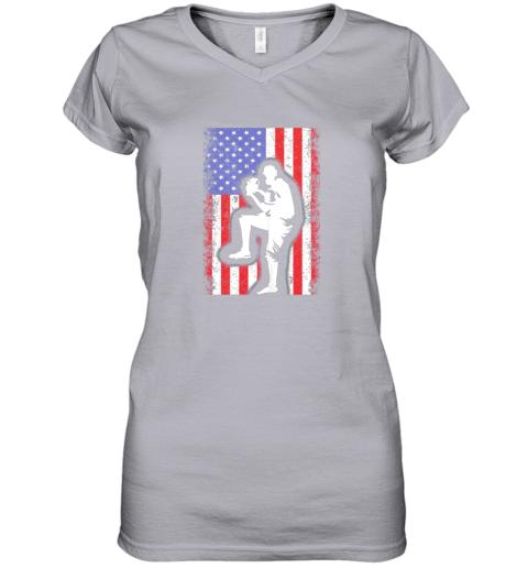 8j68 vintage usa american flag baseball player team gift women v neck t shirt 39 front sport grey
