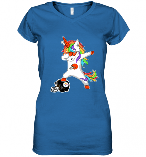 qxbz football dabbing unicorn steps on helmet cleveland browns women v neck t shirt 39 front royal