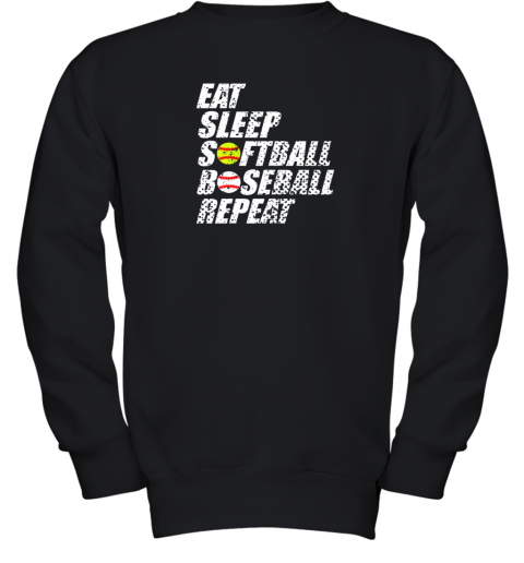 Softball Baseball Repeat Shirt Cool Cute Gift Ball Mom Dad Youth Sweatshirt