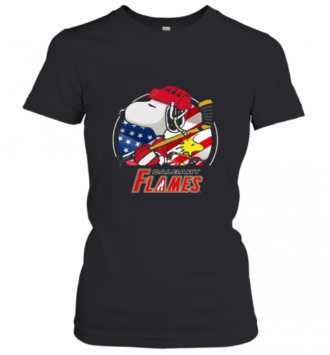 Calgary Flames   Snoopy And Woodstock NHL Women's T-Shirt