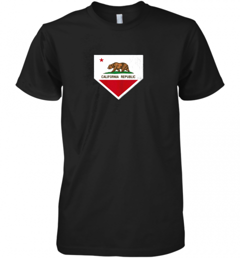 Vintage Baseball Home Plate With California State Flag Premium Men's T-Shirt