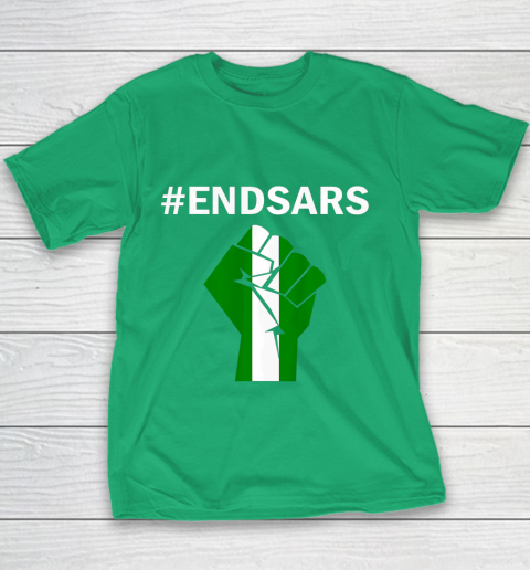 EndSARS End SARS Nigeria Flag Colors Strong Fist Protest Youth T-Shirt 3