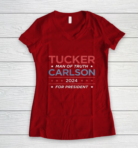 Vote For Tucker Carlson 2024 Presidential Election Campaign Women's V-Neck T-Shirt 8