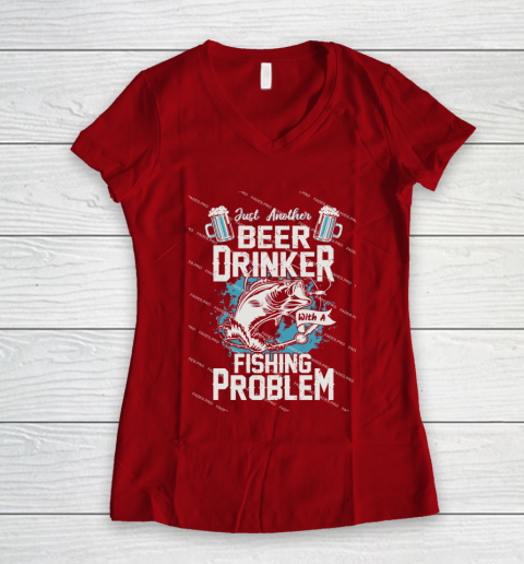 Beer Lover Funny Shirt Fishing ANd Beer Women's V-Neck T-Shirt 8
