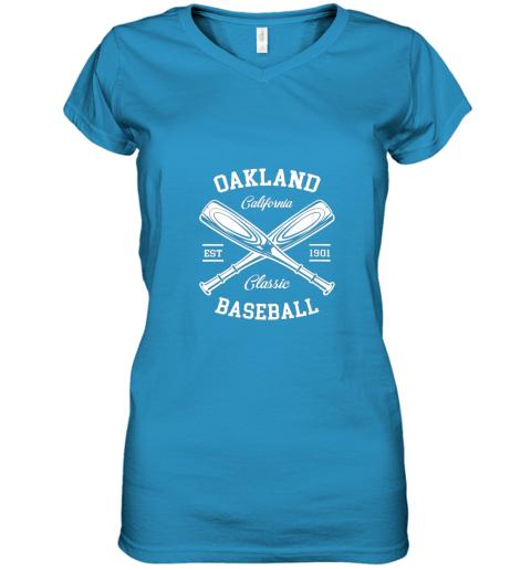 w5i9 oakland baseball classic vintage california retro fans gift women v neck t shirt 39 front sapphire