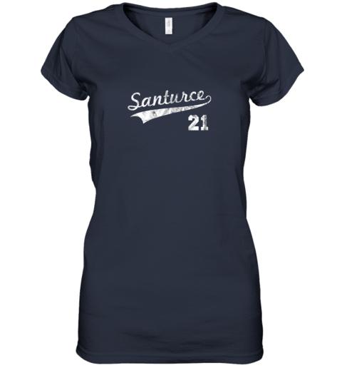 cqet vintage distressed santurce 21 puerto rico baseball women v neck t shirt 39 front navy