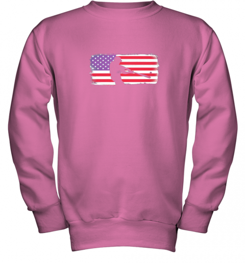 txxv usa american flag baseball player perfect gift youth sweatshirt 47 front safety pink