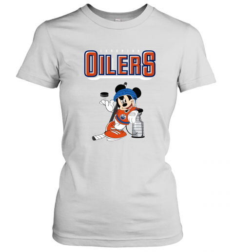 swbv mickey edmonton oilers with the stanley cup hockey nhl shirt ladies t shirt 20 front white