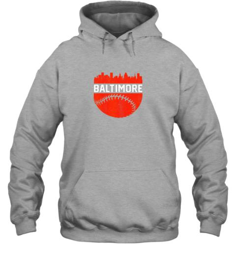 j82h vintage downtown baltimore maryland skyline baseball hoodie 23 front sport grey