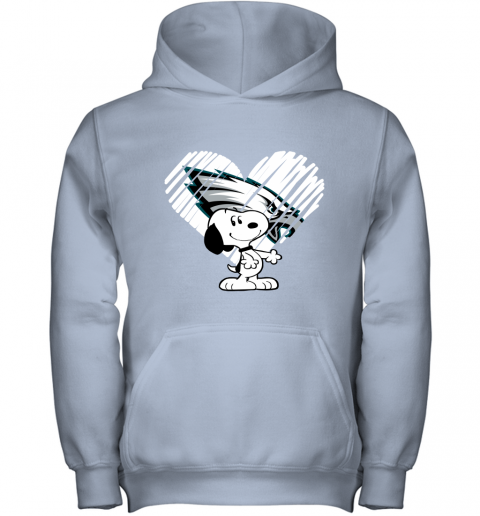 hdtu i love philadelphia eagles snoopy in my heart nfl youth hoodie 43 front light pink