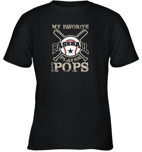 Mens My Favorite Baseball Player Calls Me POPS Youth T-Shirt