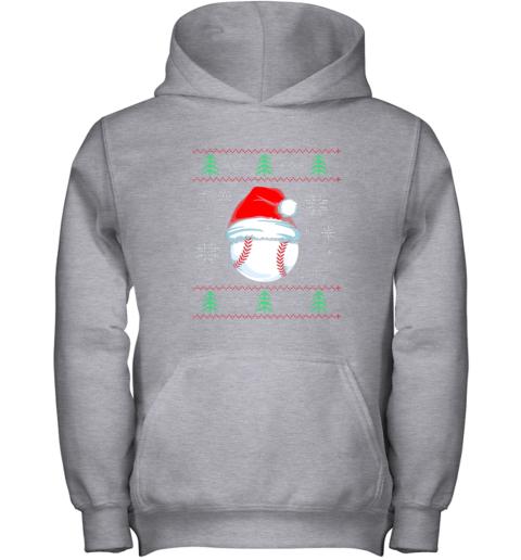 zjj9 ugly christmas baseball shirt boys kids ball santa pajama youth hoodie 43 front sport grey