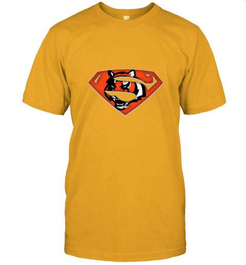 x3lk we are undefeatable the cincinnati bengals x superman nfl jersey t shirt 60 front gold