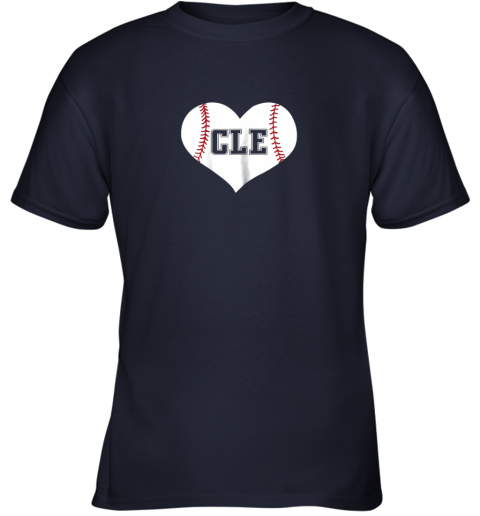 54nz cleveland ohio baseball love heart cle gift jersey fan youth t shirt 26 front navy
