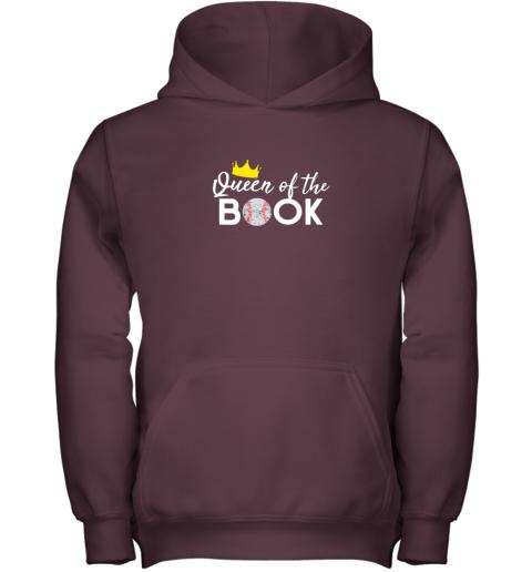 w7sn scorekeeper baseball team scorebook queen youth hoodie 43 front maroon