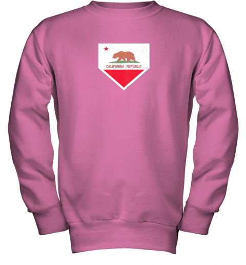 yykv vintage baseball home plate with california state flag youth sweatshirt 47 front safety pink