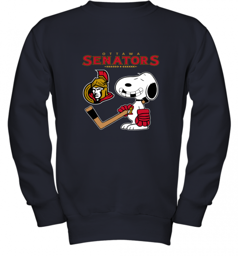8pwz ottawa senators ice hockey broken teeth snoopy nhl youth sweatshirt 47 front navy