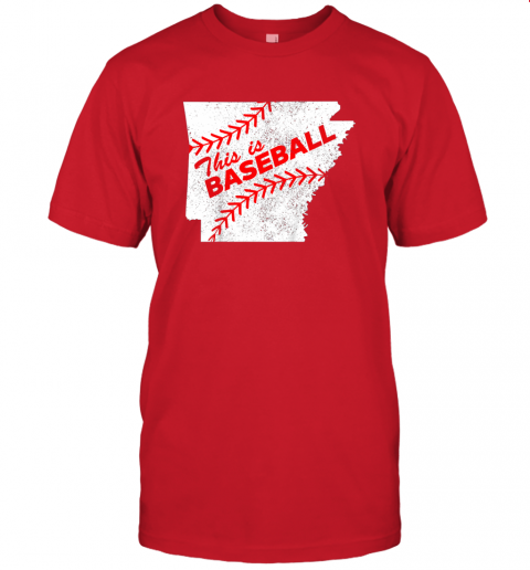 ks3o this is baseball arkansas with red laces jersey t shirt 60 front red