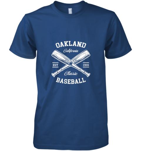 w20e oakland baseball classic vintage california retro fans gift premium guys tee 5 front royal