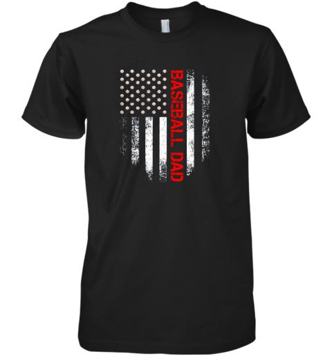 Vintage USA American Flag Proud Baseball Dad Player Premium Men's T-Shirt