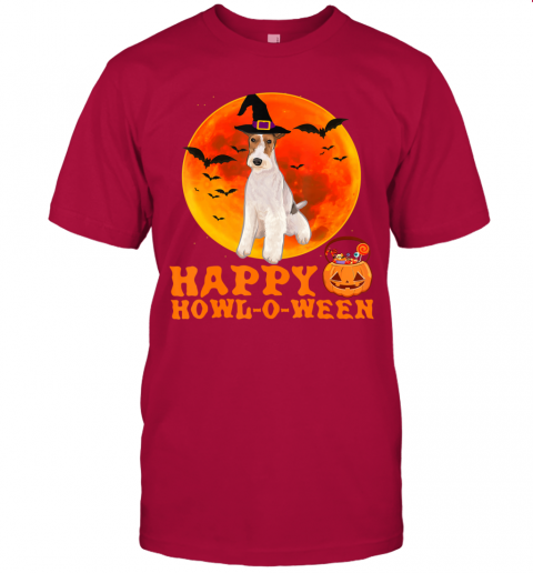 Funny Wire Fox Terrier Dog Halloween Happy Howl-o-ween T-Shirt
