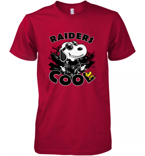 5rgc oakland raiders snoopy joe cool were awesome shirt premium guys tee 5 front red