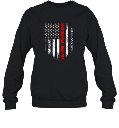 Vintage USA Best Baseball Dad Ever American Flag Daddy Gift Sweatshirt