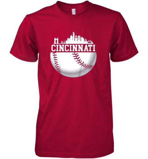 ve5y vintage downtown cincinnati shirt baseball retro ohio state premium guys tee 5 front red