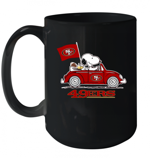 Snoopy And Woodstock Ride The San Francisco 49ers Car Ceramic Mug 15oz