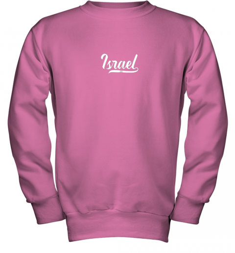 2bge israel baseball national team fan cool jewish sport youth sweatshirt 47 front safety pink