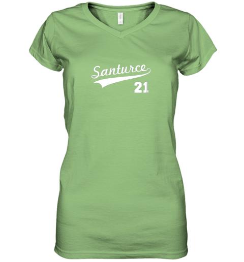 mxgk vintage santurce 21 puerto rico baseball women v neck t shirt 39 front lime