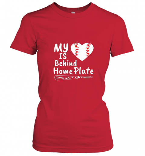 qjrr womens my heart is behind home plate baseball bat mom dad gift ladies t shirt 20 front red