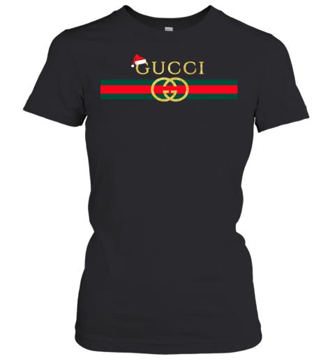 Gucci Glitter Logo Vintage Inspired Santa Hat Merry Christmas Gift Womens T-Shirt