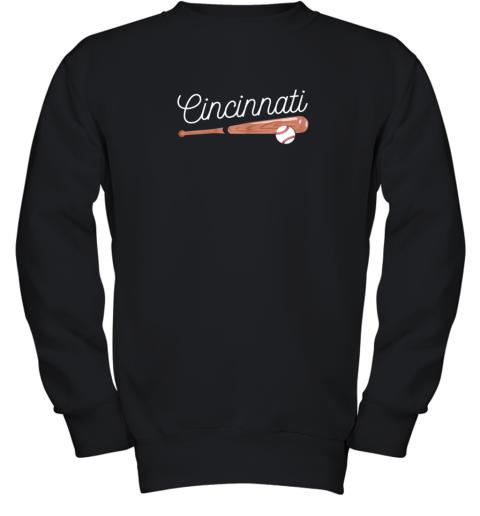 Cincinnati Baseball Tshirt Classic Ball and Bat Design Youth Sweatshirt