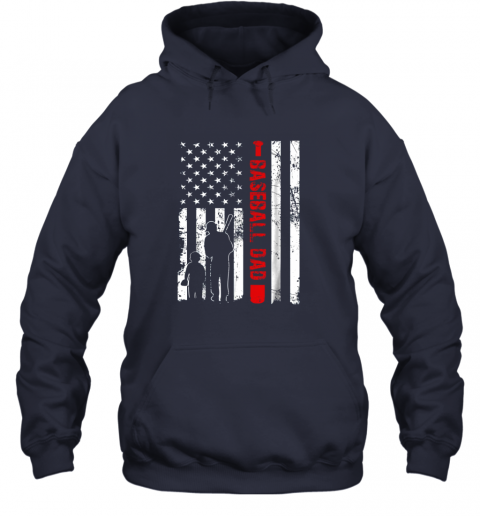 xj2r mens proud baseball dad american flag sports hoodie 23 front navy