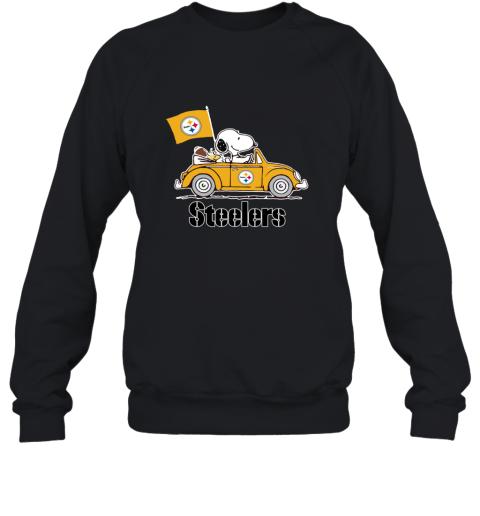Snoopy And Woodstock Ride The Pittsburg Steelers Car Sweatshirt