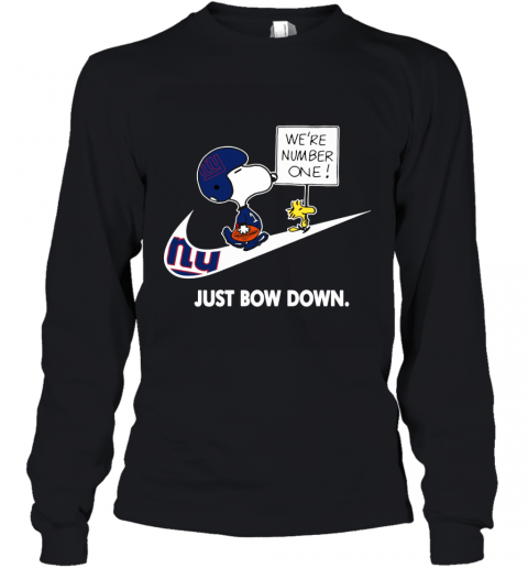 NFL New York Giants Are Number One – NIKE Just Bow Down Snoopy Youth Long Sleeve
