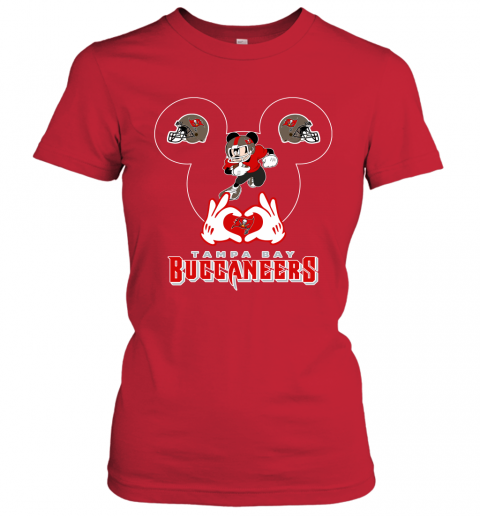 lrql i love the buccaneers mickey mouse tampa bay buccaneers s ladies t shirt 20 front red