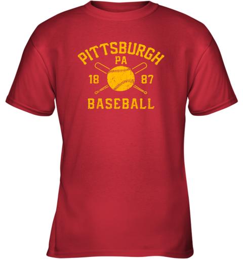 otbz vintage pittsburgh baseball pennsylvania pirate retro gift youth t shirt 26 front red