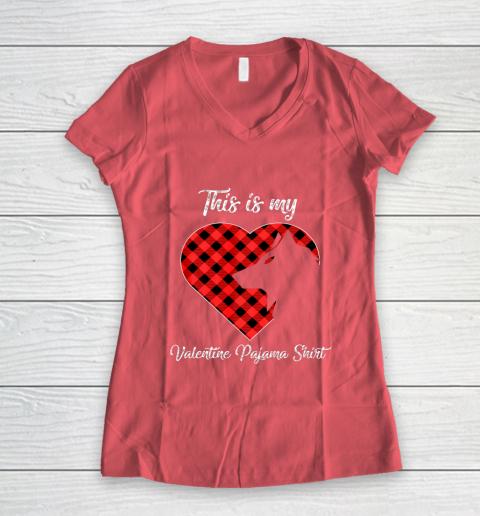 This Is My Valentine Pajama Shirt Wolf Valentines Day Women's V-Neck T-Shirt 4