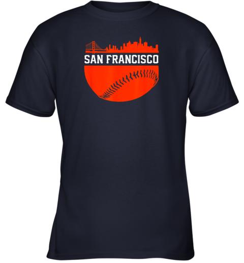 4rnd san francisco baseball vintage sf the city skyline gift youth t shirt 26 front navy
