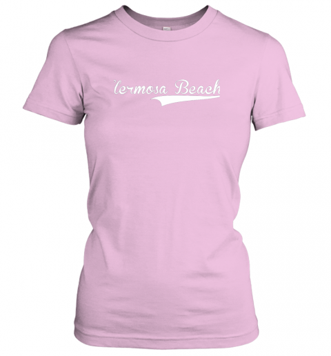 nszm hermosa beach baseball softball styled ladies t shirt 20 front light pink