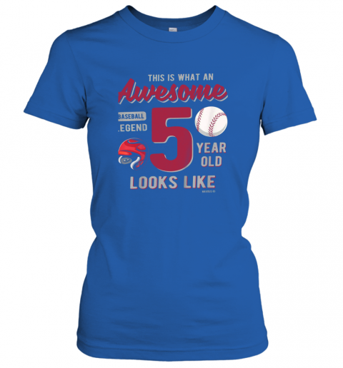 tqow kids 5th birthday gift awesome 5 year old baseball legend ladies t shirt 20 front royal