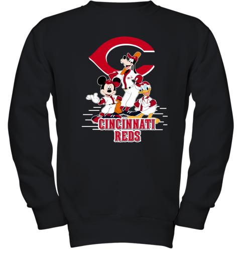 Cincinnati Reds Mickey Donald And Goofy Baseball Youth Sweatshirt