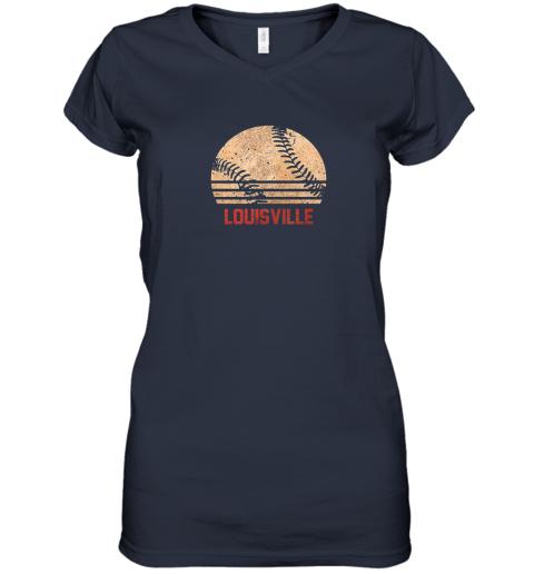 hr0v vintage baseball louisville shirt cool softball gift women v neck t shirt 39 front navy