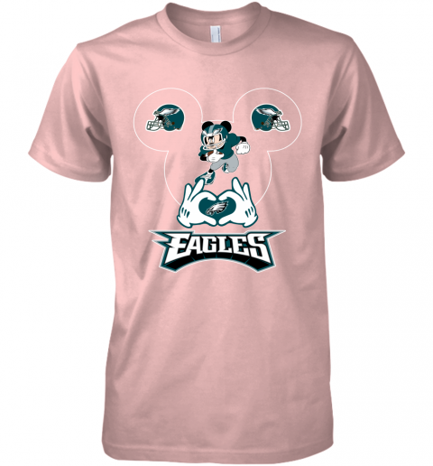 pnya i love the eagles mickey mouse philadelphia eagles premium guys tee 5 front light pink