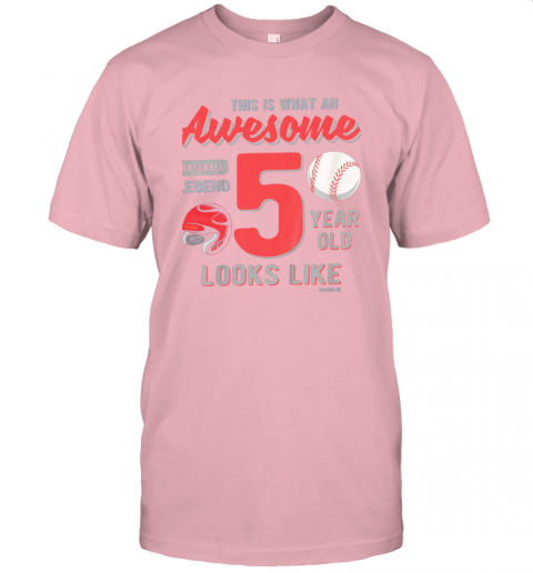 qc7u kids 5th birthday gift awesome 5 year old baseball legend jersey t shirt 60 front pink